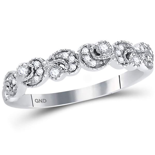 Diamond Crescent Stackable Band Ring 1/10 Cttw 14kt White Gold