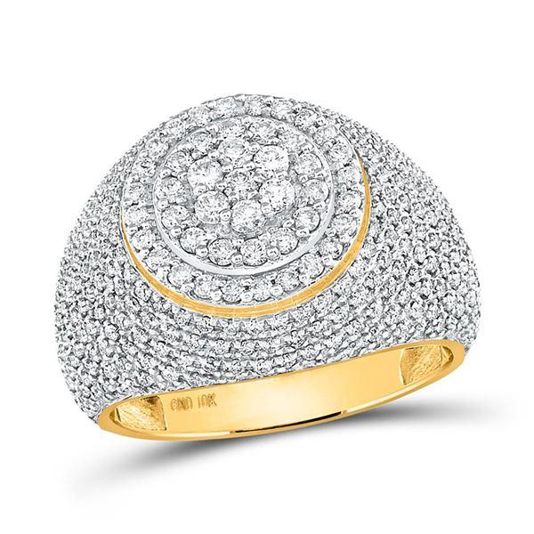 Mens Diamond Flower Cluster Ring 2 Cttw 10kt Yellow Gold
