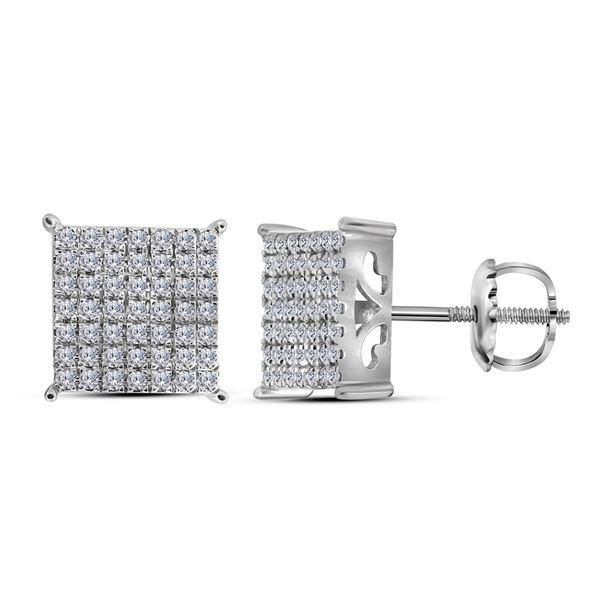 Diamond Square Cluster Stud Earrings 3/4 Cttw 10kt White Gold