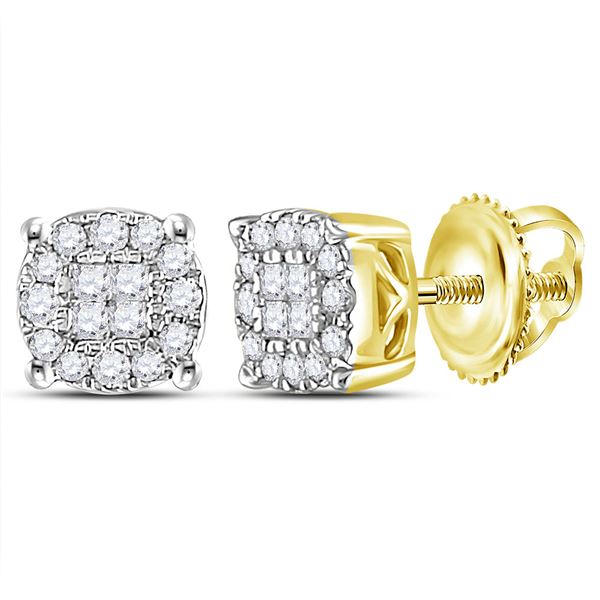 Princess Diamond Cluster Earrings 1/4 Cttw 14kt Yellow Gold
