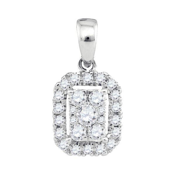 Diamond Cluster Pendant 1/3 Cttw 14kt White Gold