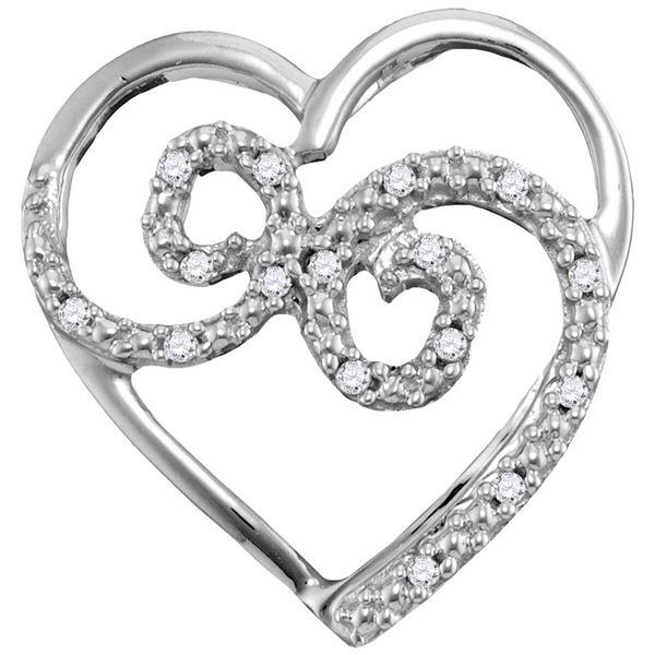 Diamond Curled Heart Pendant 1/20 Cttw 10kt White Gold