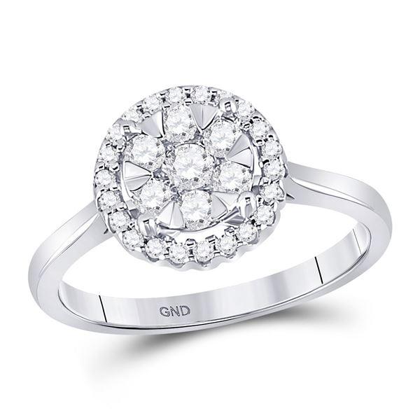 Diamond Halo Flower Cluster Ring 1/2 Cttw 10kt White Gold