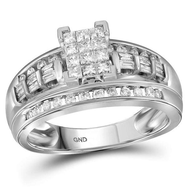 Princess Diamond Cluster Bridal Wedding Engagement Ring 1/2 Cttw 10kt White Gold