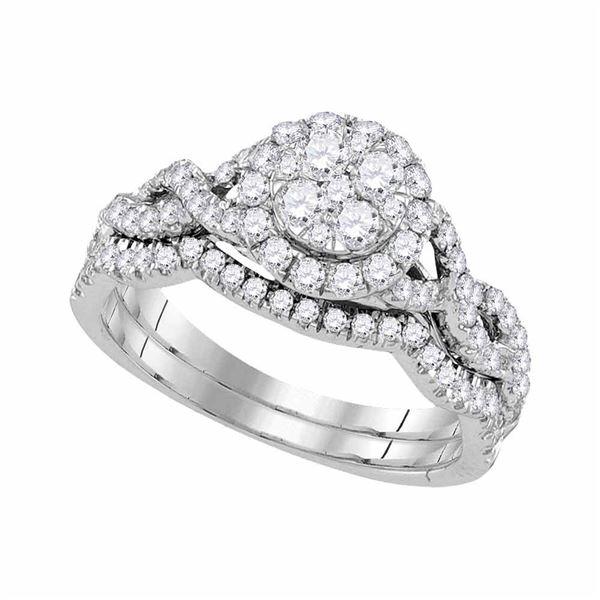 Diamond Cluster Bridal Wedding Ring Band Set 7/8 Cttw 14kt White Gold
