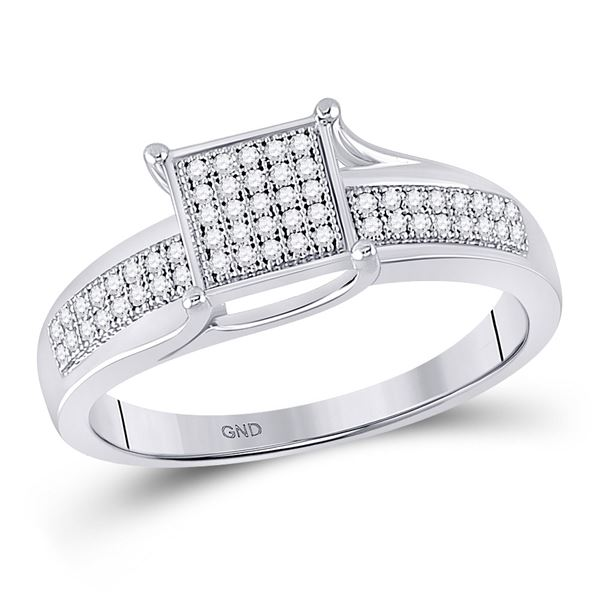 Diamond Square Cluster Ring 1/6 Cttw Sterling Silver