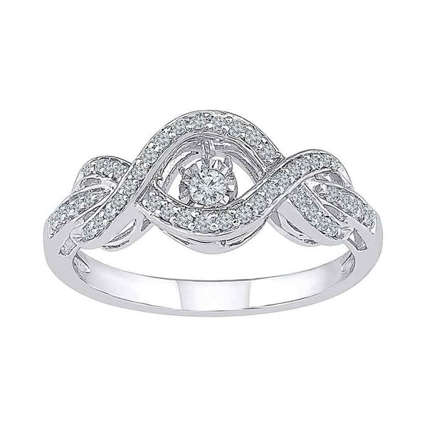 Diamond Moving Twinkle Solitaire Ring 1/4 Cttw 10kt White Gold