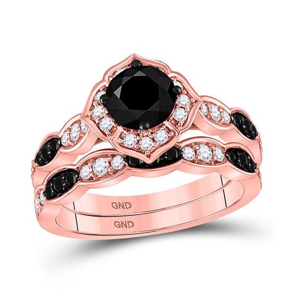 Black Color Enhanced Diamond Bridal Wedding Ring Band Set 2 Cttw 14kt Rose Gold