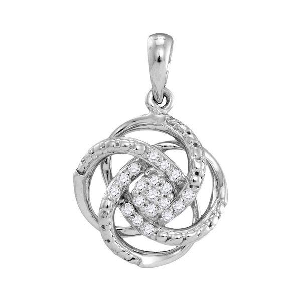 Diamond Cluster Pendant 1/10 Cttw 10kt White Gold