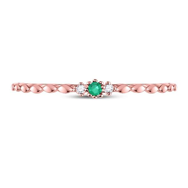Emerald Solitaire Diamond-accent Stackable Ring .03 Cttw 10kt Rose Gold