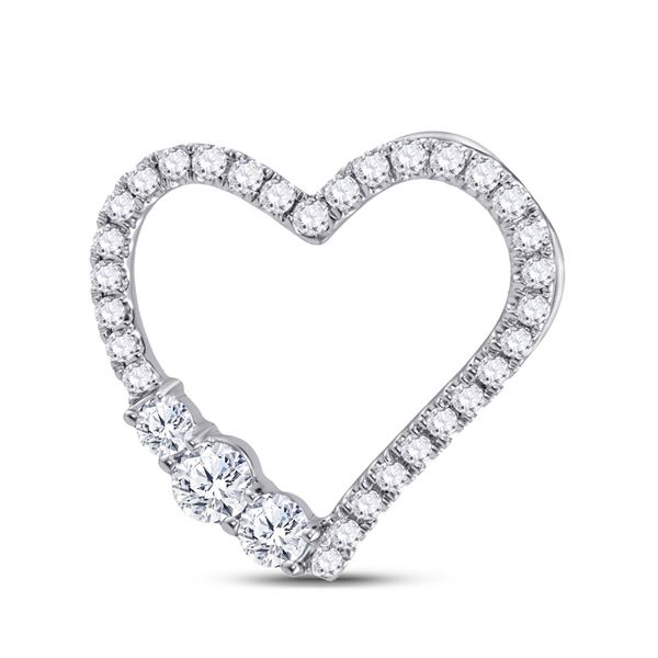 Diamond Heart Pendant 1/2 Cttw 14kt White Gold
