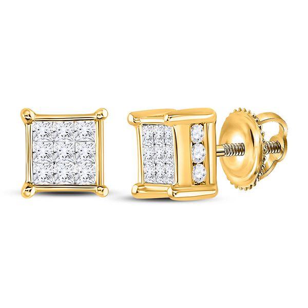 Princess Diamond Cluster Stud Earrings 1/2 Cttw 14kt Yellow Gold