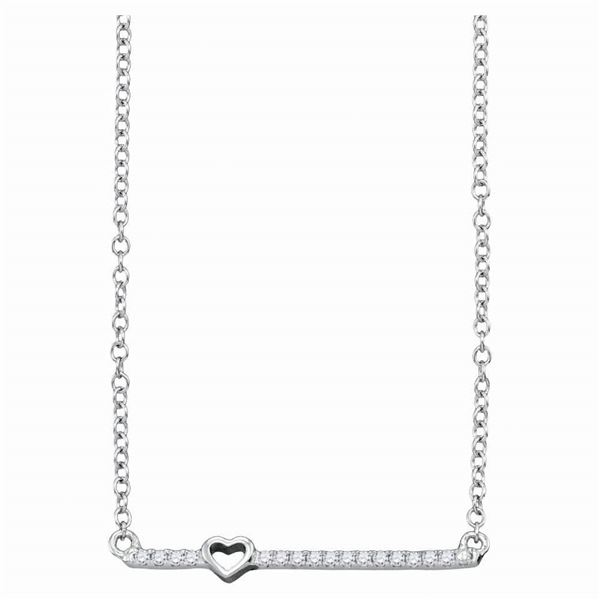 Diamond Heart Bar Necklace 1/10 Cttw 10kt White Gold