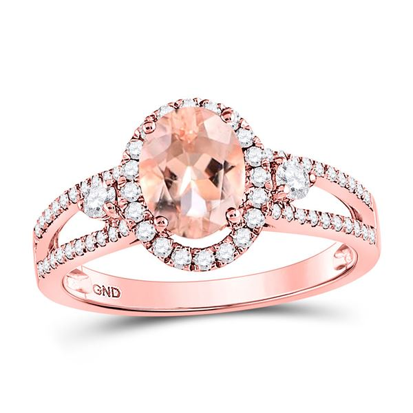 Oval Morganite Solitaire Ring 1-3/8 Cttw 14kt Rose Gold