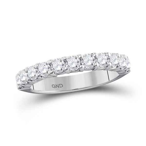 Pave-set Diamond Wedding Band 1 Cttw 14kt White Gold