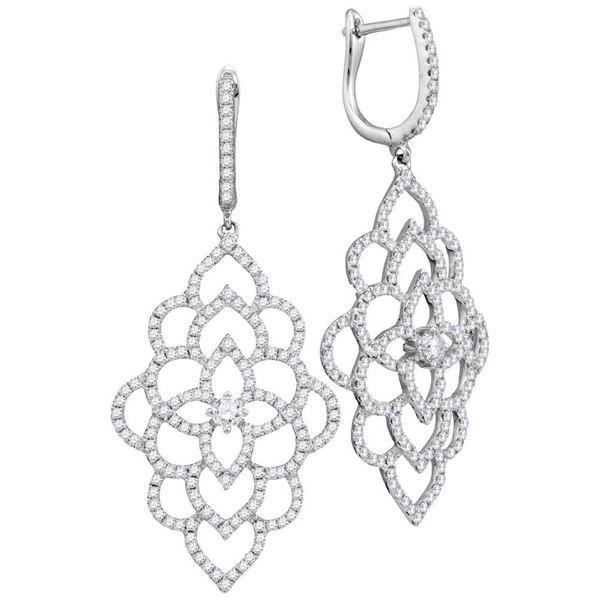 Diamond Petals Cocktail Dangle Earrings 1-3/8 Cttw 18kt White Gold