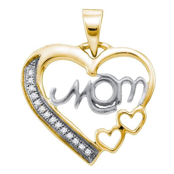 Heart Yellow-tone Pendant 1/20 Cttw Sterling Silver