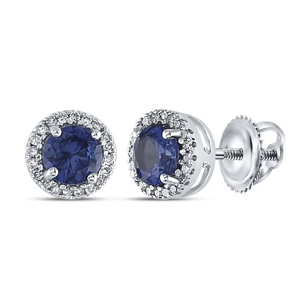 Lab-Created Blue Sapphire Stud Earrings 1-1/2 Cttw Sterling Silver