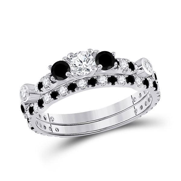 Diamond 3-Stone Bridal Wedding Ring Band Set 1 Cttw 14kt White Gold