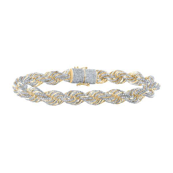 Mens Diamond Rope Chain Bracelet 9 Cttw 10kt Yellow Gold