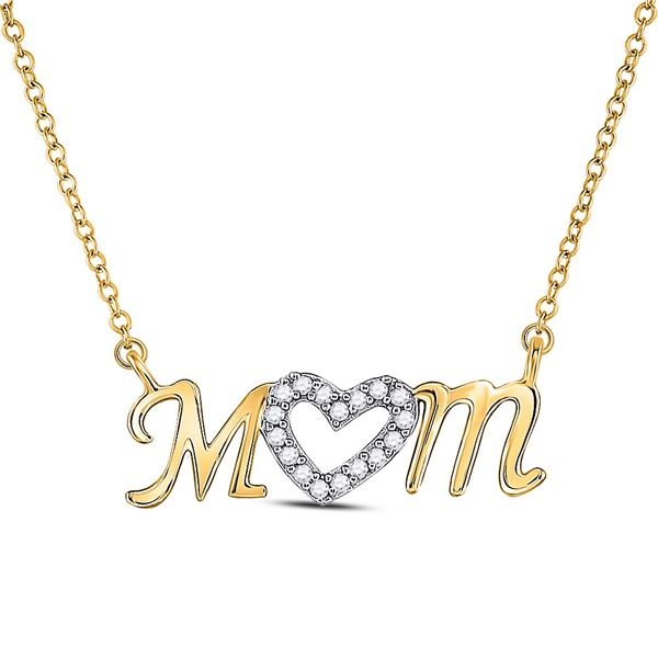 Diamond Heart Mom Mother Necklace 1/10 Cttw 10kt Yellow Gold