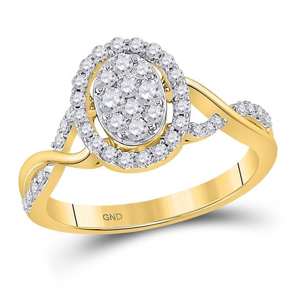 Diamond Oval Cluster Ring 1/2 Cttw 14kt Yellow Gold