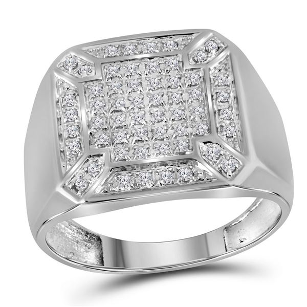 Mens Diamond Square Cluster Ring 1/3 Cttw 10kt White Gold