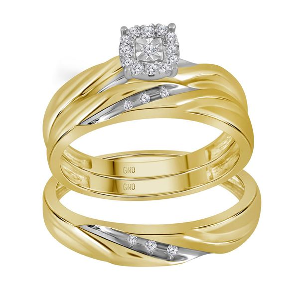 His Hers Diamond Solitaire Matching Wedding Set 1/8 Cttw 10kt Yellow Gold