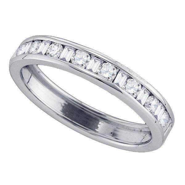 Machine Set Diamond Wedding Anniversary Band 1/2 Cttw 14kt White Gold