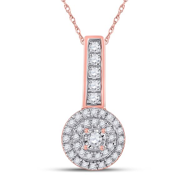 Diamond Circle Pendant 1/5 Cttw 10kt Rose Gold