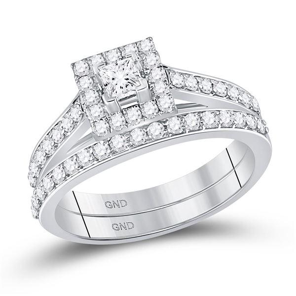 Princess Diamond Bridal Wedding Ring Band Set 7/8 Cttw 10kt White Gold