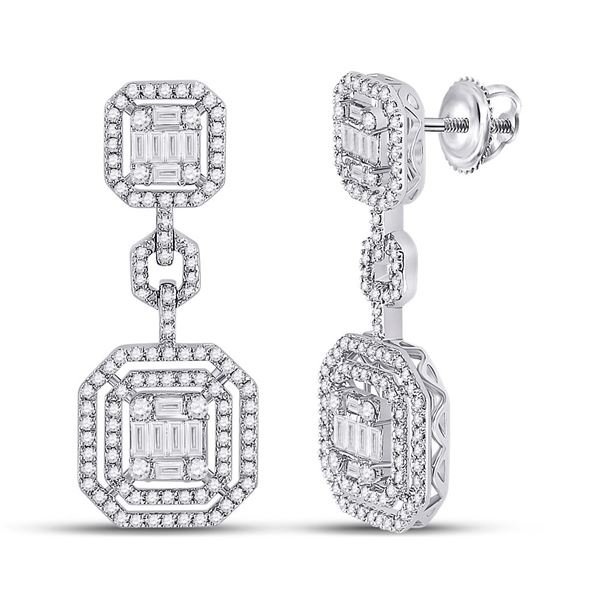 Baguette Diamond Octagon Dangle Earrings 1-1/2 Cttw 14kt White Gold