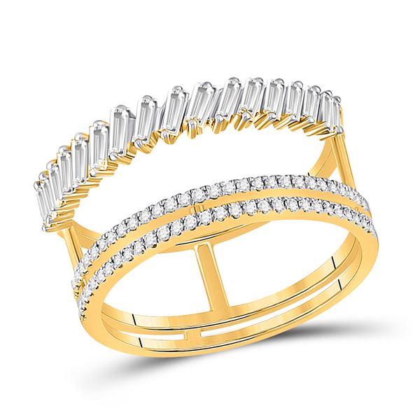 Baguette Diamond Modern Negative Space Ring 5/8 Cttw 14kt Yellow Gold