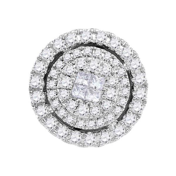 Princess Diamond Cluster Pendant 1/2 Cttw 14kt White Gold