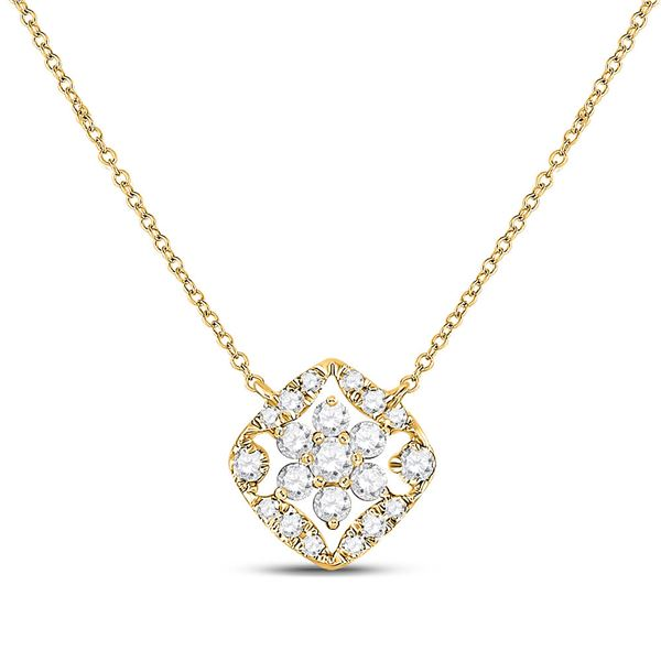 Diamond Floral Cluster Necklace 1/3 Cttw 14kt Yellow Gold