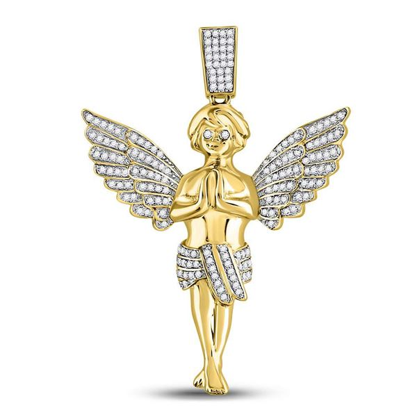 Mens Diamond Angel Charm Pendant 3/8 Cttw 10kt Yellow Gold
