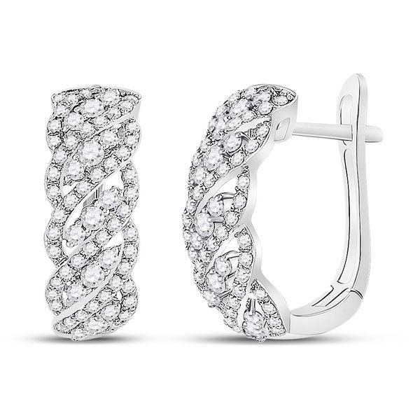 Diamond Cascading Hoop Earrings 5/8 Cttw 14kt White Gold