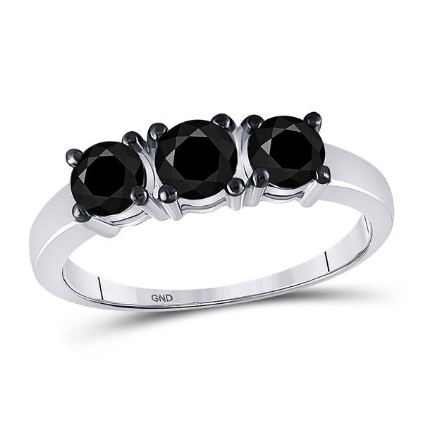 Black Color Enhanced Diamond 3-stone Bridal Wedding Ring 1 Cttw 10kt White Gold