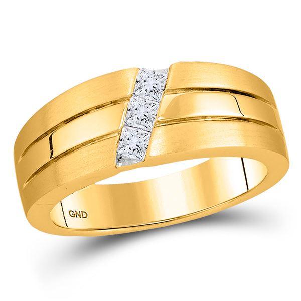 Mens Princess Diamond 3-stone Wedding Ring Band 1/3 Cttw 14kt Yellow Gold