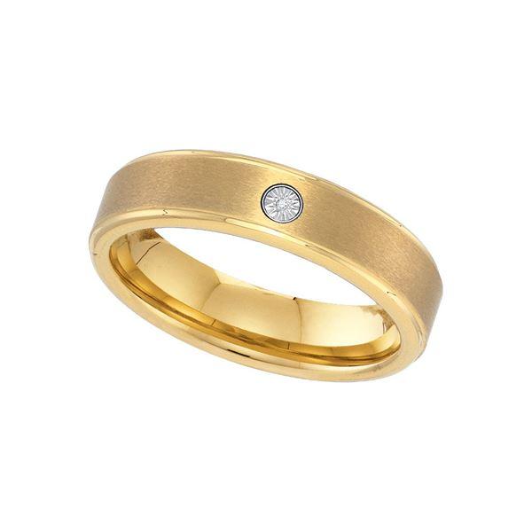 Yellow-tone Tungsten Carbide Mens Diamond Band Ring .01 Cttw Size 12 Yellow-tone Tungsten