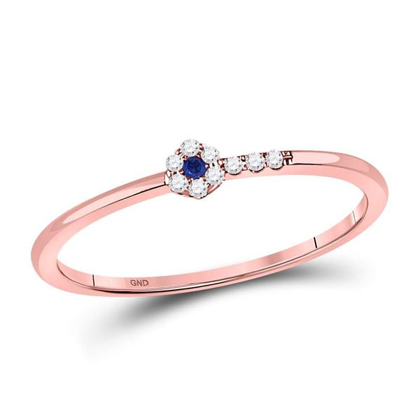 Blue Sapphire Diamond Stackable Band Ring 1/12 Cttw 10kt Rose Gold