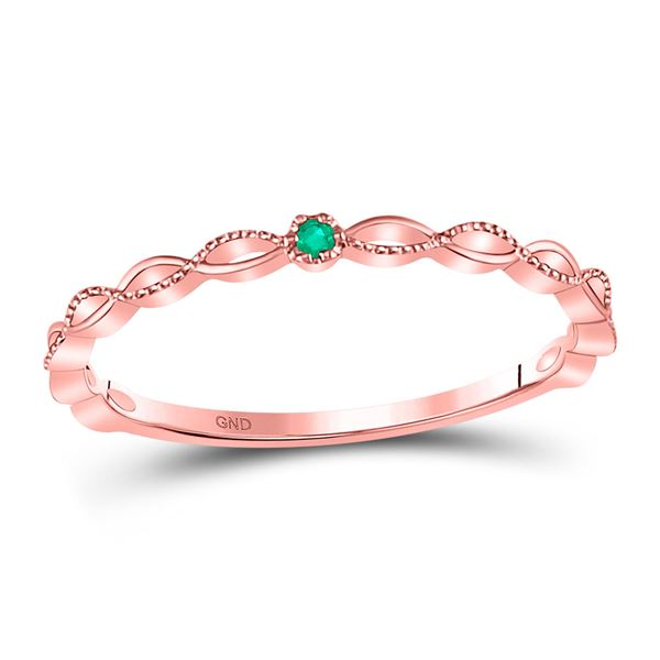 Emerald Solitaire Milgrain Stackable Band Ring .01 Cttw 10kt Rose Gold