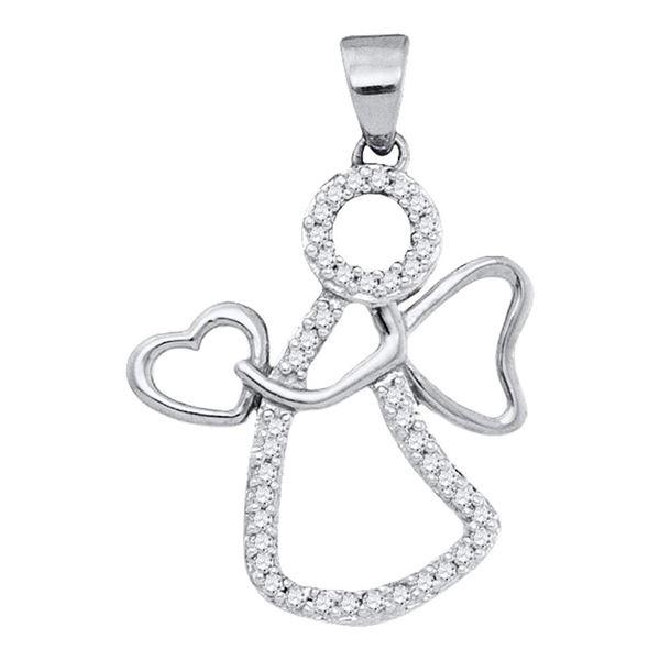 Diamond Guardian Angel Heart Pendant 1/8 Cttw 10kt White Gold