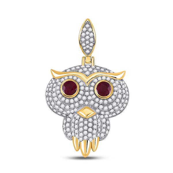 Mens Ruby Diamond Owl Bird Charm Pendant 2-5/8 Cttw 14kt Yellow Gold