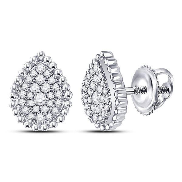 Diamond Teardrop Earrings 1/4 Cttw 10kt White Gold