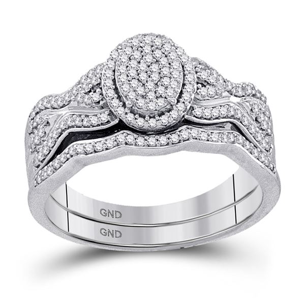 Diamond Oval Cluster Bridal Wedding Ring Band Set 3/8 Cttw 10kt White Gold