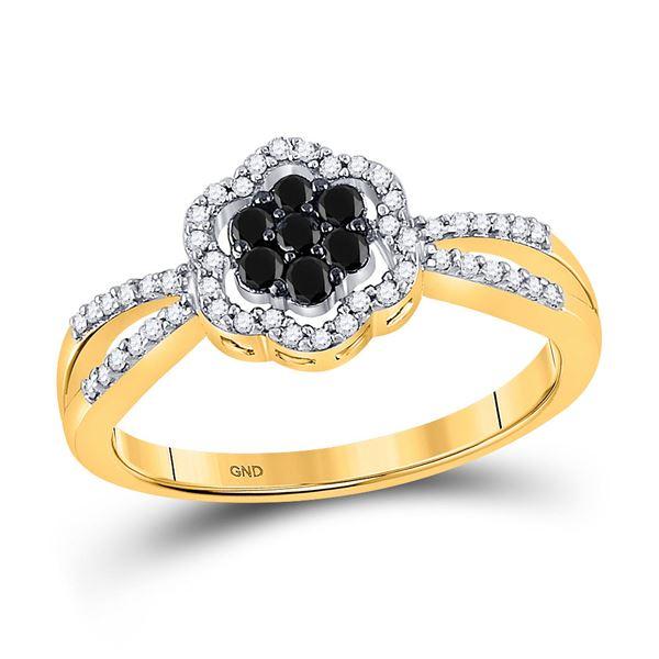 Black Color Enhanced Diamond Flower Cluster Ring 1/3 Cttw 10kt Yellow Gold