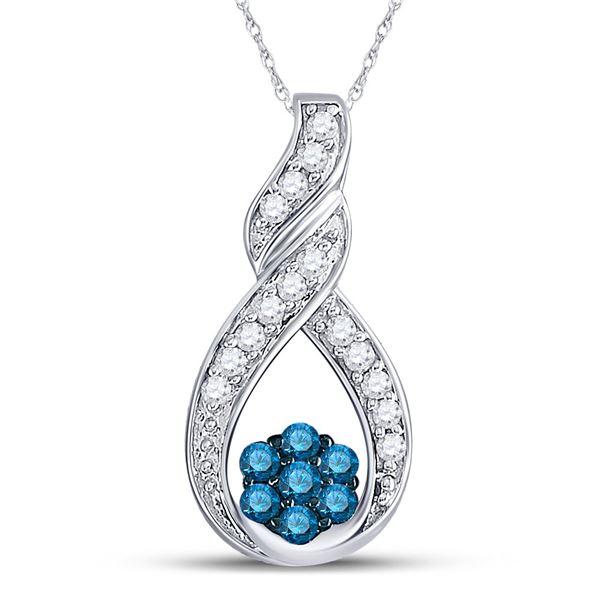 Blue Color Enhanced Diamond Cradled Cluster Pendant 1/4 Cttw 10kt White Gold