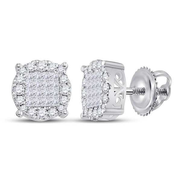 Princess Diamond Fashion Cluster Earrings 1 Cttw 14kt White Gold