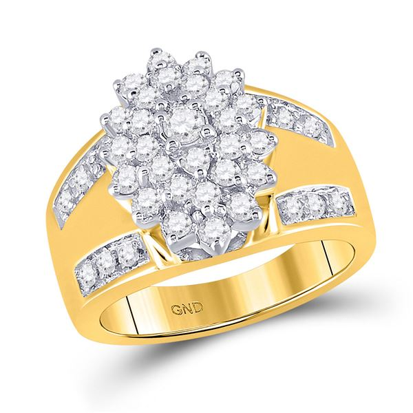 Diamond Oval Cluster Ring 1 Cttw 10kt Yellow Gold
